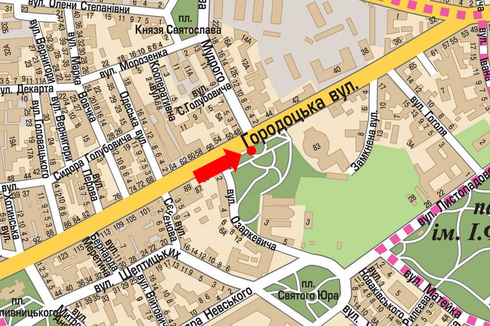 IDMedia Арендовать и разместить Ситилайт в городе Львов (Львовская область) №178137 схема