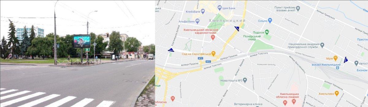 IDMedia Наружная реклама в городе Хмельницкий (Хмельницкая область), Экран в городе Хмельницкий №224912 схема