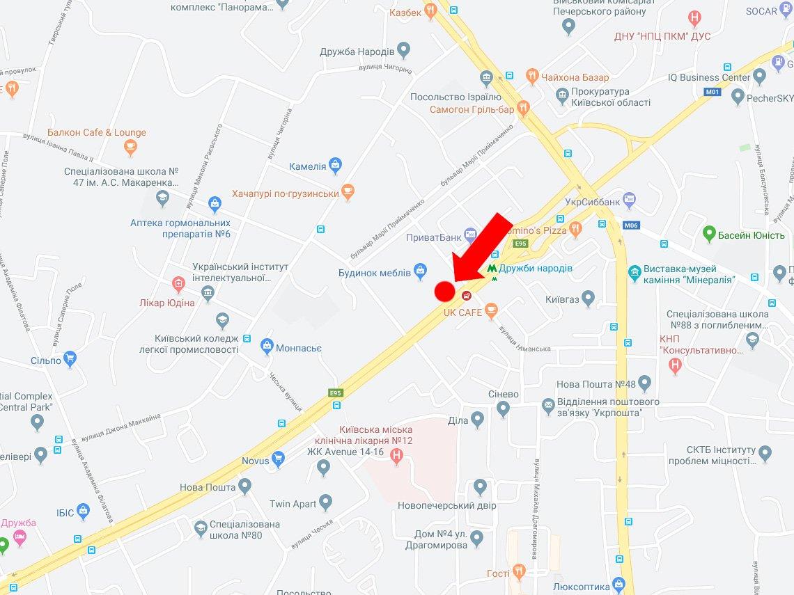 IDMedia Наружная реклама в городе Киев (Киевская область), Экран в городе Киев №227969 схема