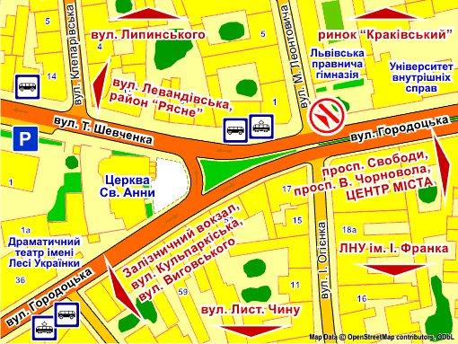 IDMedia Наружная реклама в городе Львов (Львовская область), Экран в городе Львов №235715 схема