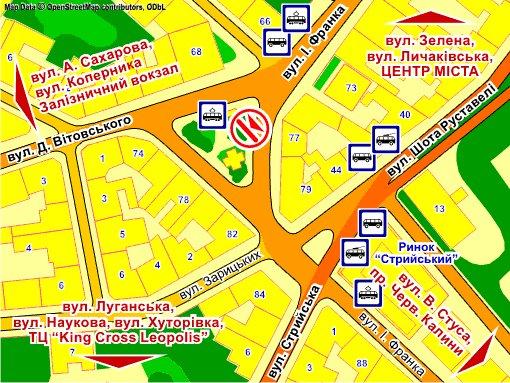 IDMedia Наружная реклама в городе Львов (Львовская область), Экран в городе Львов №235717 схема