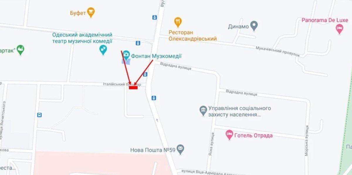IDMedia Наружная реклама в городе Одесса (Одесская область), Брандмауэр в городе Одесса №238653 схема