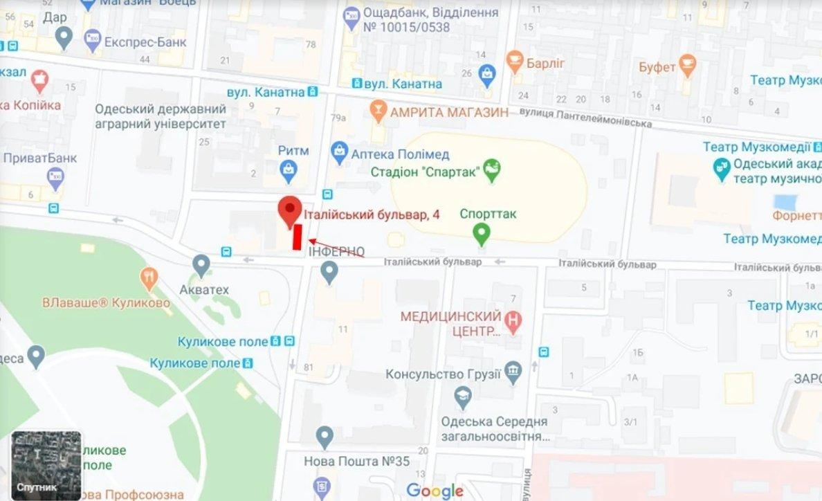 IDMedia Наружная реклама в городе Одесса (Одесская область), Брандмауэр в городе Одесса №238667 схема