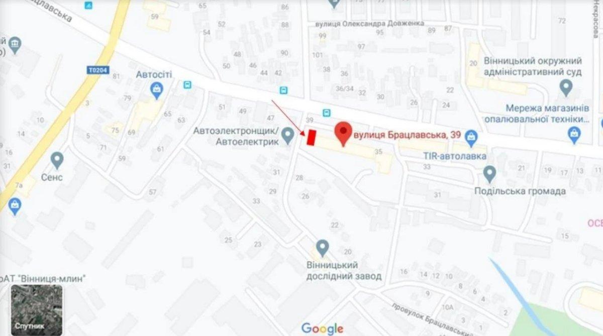 IDMedia Наружная реклама в городе Винница (Винницкая область), Брандмауэр в городе Винница №238673 схема