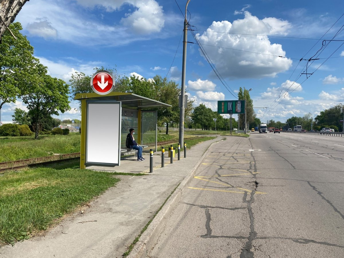 Остановка №240713 в городе Днепр (Днепропетровская область), размещение наружной рекламы, IDMedia-аренда по самым низким ценам!